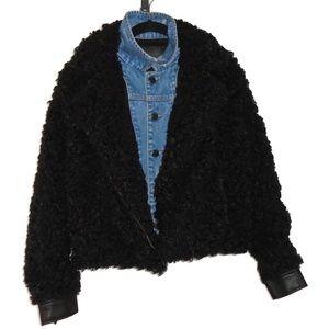 BlankNYC Denim Jacket Coat Black Curled Faux Fur